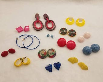 Lot, Bunch, bundle of 1980s and 1990s earrings. 14 pairs of Plastic, metal, and wood...