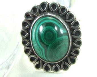 Malachite Agate Stone Sterling Silver Ring 18