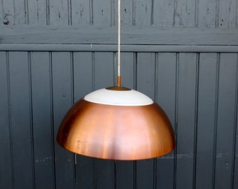 A stunning, copper and milk glass, sputnik atomic, vintage Scandinavian style pendant or ceiling light