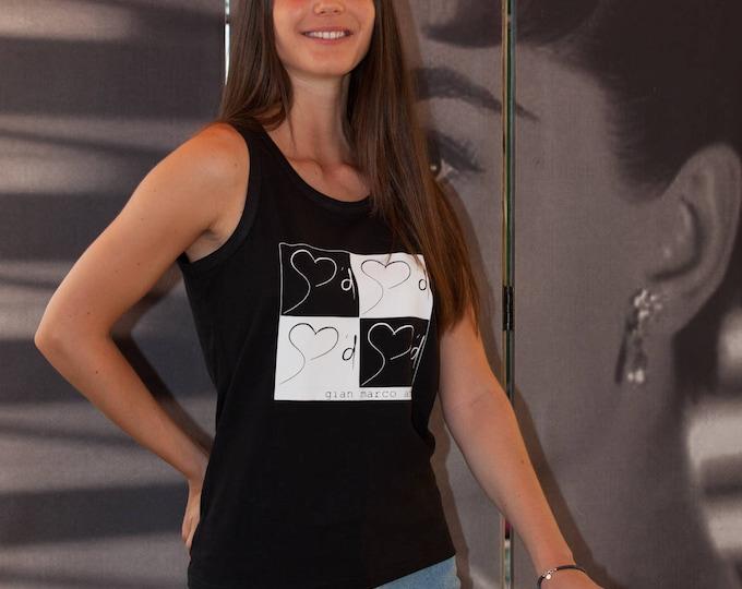 Gian Marco Amato Tank Top chessboard design. 100% Cotton.