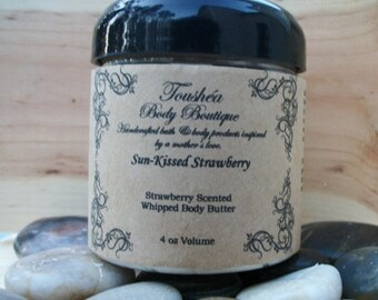 Strawberry Body Butter, Body Butter, Strawberry Lotion, Shea Butter, Mango Butter, Cocoa Butter, Sun-Kissed Strawberry  3 oz