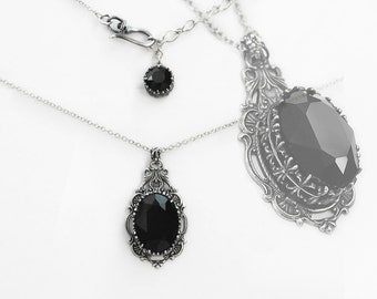 Clothing Gift Gothic Necklace Victorian Gothic Jewelry Silver Filigree Necklace Pendant Black Swarovski Necklace christmas gift for her
