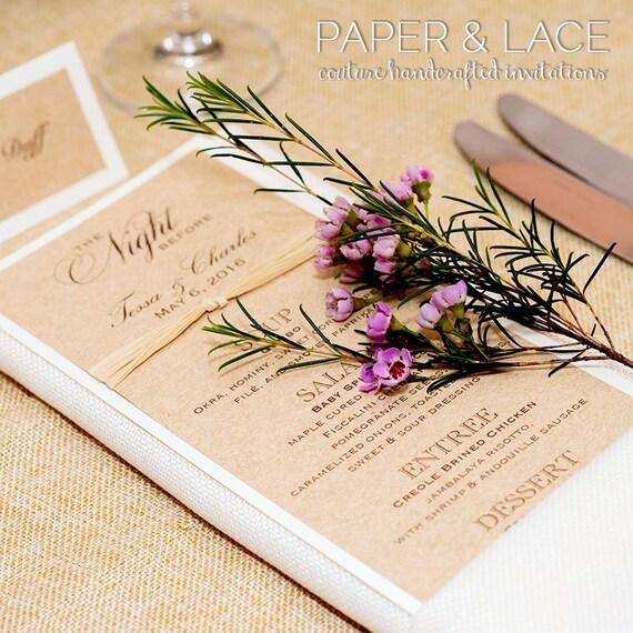 Rustic Wedding Menu - Burlap Menu - Kraft and Ivory Menu with Raffia Ribbon - Customizable