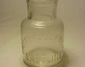 c1890s Chesebrough Vaseline New York ,N.Y., Clear Glass Cork Top Medicine Bottle No. 2