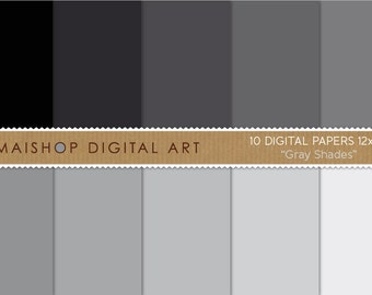 Solid Color Digital Paper 'Gray Shades' Printable Plain Backgrounds for Scrapbooking, Planners, Paper Crafts...