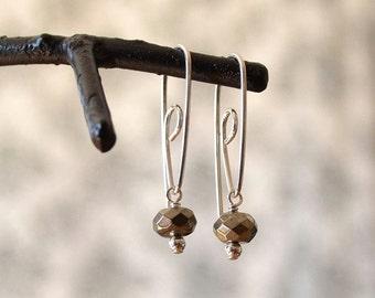 Pyrite Earring, Metallic Earrings, Spiral Hoop Earring, Geometric Hoop Earring, Hoop With Stone