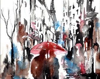 Paris Love Romance Print from Original Watercolor Illustration - Lana Moes watercolor travel illustration - Paris Wanderlust