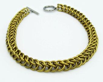 Gold Chainmail Bracelet, Half Persian Weave, Chainmaille Bracelet, Chainmail Weave, Chainmail Jewelry, Handmade Bracelet