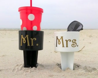 Mr. and Mrs. Beach Cup Holders, Monogrammed Drink Spiker - Black + White + Gold Honeymoon Gift