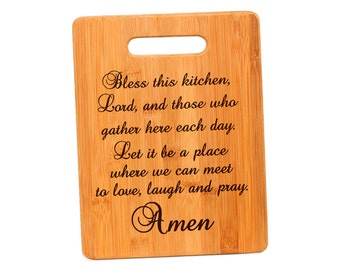 Kitchen Prayer Bamboo Cutting Board - Christian Housewarming Gift - Bless this kitchen