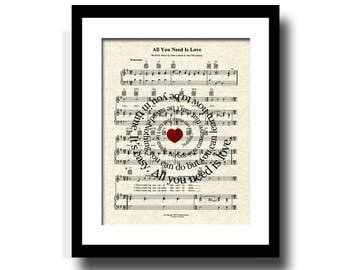 All You Need Is Love Song Lyric Sheet Music Art Print, Custom Art, Custom Wedding Gift, Custom Anniversary Gift, Name & Date, Love Song