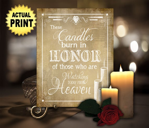 Memorial wedding sign   PRINTED Sign, These Candles Burn, Heaven Sign, Memory Table Wedding Sign, Remembrance Sign, Wedding Memorial Candle