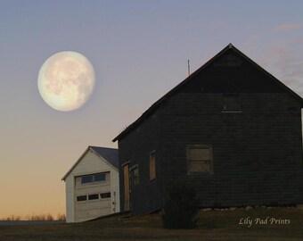 Moon photograph- The Wolf Moon fine art print - New England photography, winter moon, nature landscape, moon wall art , blue, orange,brown
