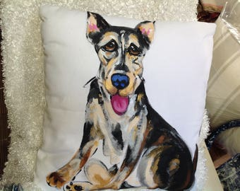 Dog Pillow / Hand Painted / Original Dog Art / Custom made / Debby Carman / Faux Paw Productions