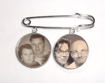 Kilt Pin with 2 Memorial Photo Charms Silver Round - FREE SHIPPING