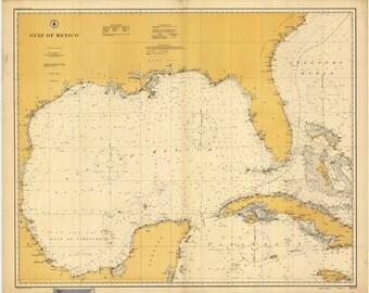 Gulf of Mexico 1908 Nautical Map, Florida, Texas, Mexico, Cuba, Jamaica, Yucatan - Reprint - Atlantic 1000-1007
