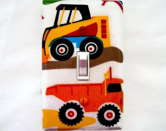 Truck Switch Plate Cover - Construction Trucks Light Switch Cover - Boys Nursery Light Switch Cover