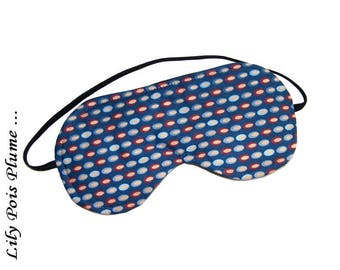 Sleeping mask moletonne blue beige pastille