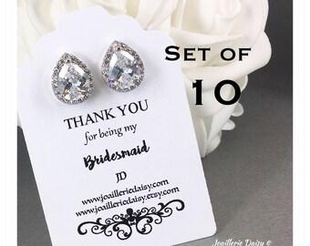 Set of 10 Bridesmaid Earrings Stud Earrings Cubic Zirconia Sterling Silver Earrings Bridesmaid Gift Bridal Earrings Mother of Bride Gift