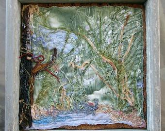 "Pond Scene Fiber Art, Framed Art Quilt, Landscape Art Quilt, Fabric Art, Wall Art, Home Decor, Gift for Anyone, 9.5"" x 9.5"""