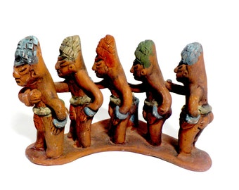 Tribal Mayan African Warriors Candle Holder, Red Clay, Hand Made, Hand Painted, Pottery Mayan African Tribal Decor