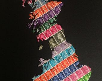 Handcut vintage postage stamp map of mainland Britain - Rainbow