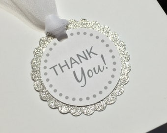 Thank you tags, party favor tags, silver favor tags, silver thank you tags, gift tags, wedding favor tags, silver wedding tags, birthday tag