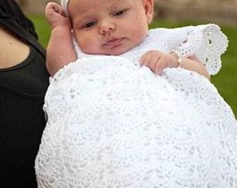 Extra Long Braelynn, Crochet, Christening Gown, Christening Dress, Blessing Dress, Blessing Gown, Baptism, Naming Dress, Vintage Dress