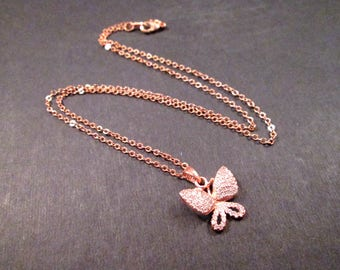 Butterfly Pendant Necklace, White Cubic Zirconia Pave, Rose Gold Chain Necklace, FREE Shipping U.S.