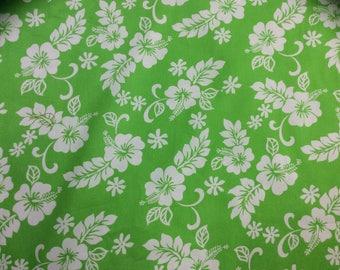 Classic lime green and white Hawaiian Print  (Bulk Yardage Available)