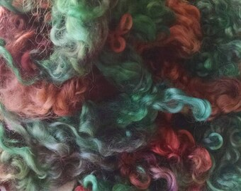 Teeswater Locks - Curls - Hand Dyed Locks - Spinning - Doll Hair - Felting - Wool Locks - Troll Hair - Locks -Lockspun - Vintage Red Maple