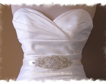Crystal Pearl Bridal Belt, Pearl Wedding Dress Sash, Jeweled Wedding Dress Belt, Rhinestone Pearl Bridal Sash, Wedding Sash Belt, No. 3080S
