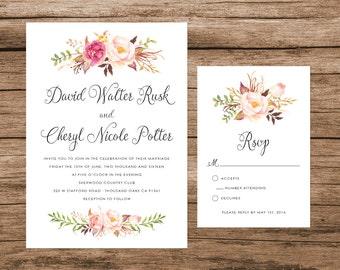 Rustic Wedding Invitation, Watercolor Floral Wedding Invitation, Script Wedding Invitation
