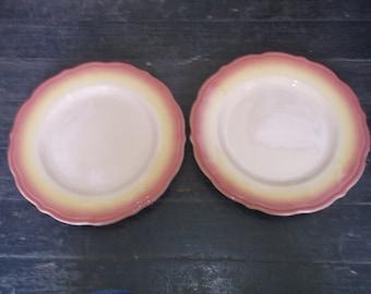 "2 TEPCO China Restaurant Ware Yellow Brown Sunset Dinner Plates 10 1/2"" USA"