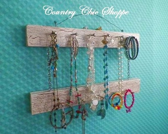 """Jewelry Organizer in Crackle Pattern. 2-Level Hanger, 16"""" Long with 13 Pegs. Pick Your Favorite Colors. Great Closet or Bathroom Organizer"""