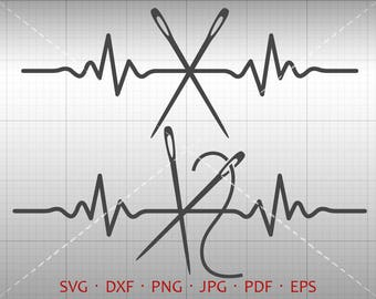 EKG Needle SVG, Heartbeat Sew SVG, Tailor Clipart dxf Vector Silhouette Cricut Cut File Commercial Use