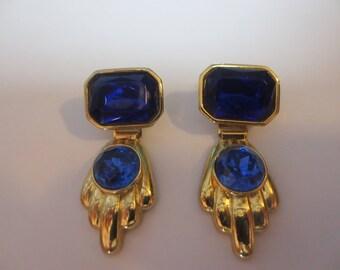 vintage costume sapphire earrings