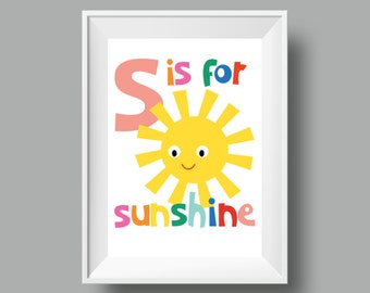 """Colourful Retro Nursery Giclee Print - Slogan 'S is for Sunshine' - A4 or 8x10"""" size - Alphabet Letters Cartoon Poster for Kids Room"""