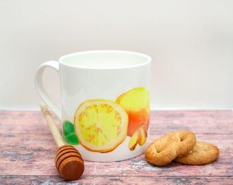 Lemon and Ginger Herb Tea Mug     Bone China Mug