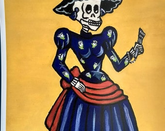 Lady in a Blue Dress - Mexican Skeleton Art