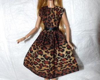 Stylish Leopard animal print dress for Fashion Dolls - ed933