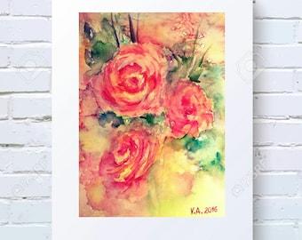 Printable artwork, Print wall art, Decor living room, Wall art printable, Watercolor roses print, Watercolor printable, Digital download art