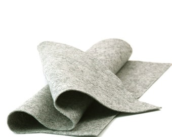"""Wool Felt Sheet - 100% Wool Felt in Color HEATHER GRAY - 18"""" X 18"""" Wool Felt - Merino Wool Felt"""