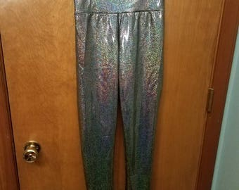 Rainbow holographic leggings