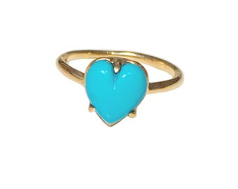 Heart Ring Turquoise        onyx opal stone silver gold sterling jewelry