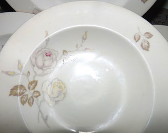 Vintage (c.1960s) Johann Haviland Germany Sweetheart Rose rimmed soup bowl.  Pink and yellow roses, gold edge.