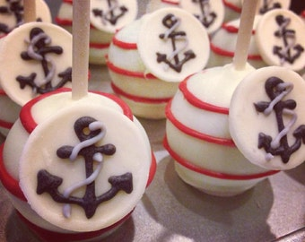 Anchors Away Cake Pops/baby shower/ahoy its a boy