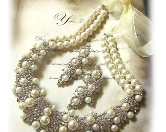 Ivory Pearl Bridal Jewelry Set, Vintage Inspired Wedding Jewelry, Bridal Pearl Necklace Earring Set, Classic Bridal Statement, Bridal Set