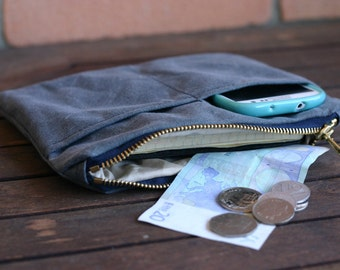 Waxed canvas pouch - waxed canvas zippered purse - canvas pencil case - waxed canvas purse - waxed canvas wallet - canvas bag, travel pouch