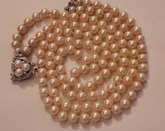 1960's vintage necklace 2 string necklace 60's faux pearl necklace champagne necklace ladies pearl necklace